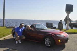 Mark and Kay in Miata Roadster, Edenton, NC